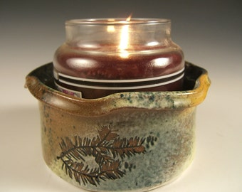 Wine Coaster/Dip Bowl/Candle Holder with oak ,hemlock and white pine impressions
