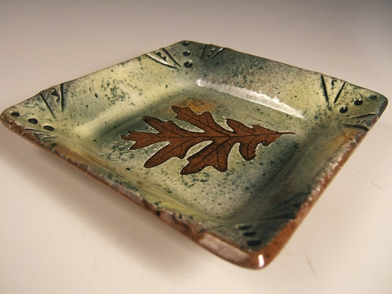Handmade Square Shallow Bowl salad plate in Green Leaf Pattern with White Oak impression
