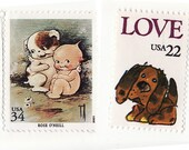 108 - Puppy Love (Calligraphed valentine with vintage postage)