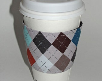 I heart Argyle - Reusable Coffee Sleeve