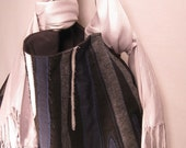 Reserved for YolandaMin - Upcycled Blue, Gray, and White Striped Black Eco-Fi Weekender Hobo - KennaKristine