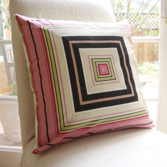 """Mitered Stripe 20"""" Pillow Cover in Pink, Lime Green, Black, and White"""