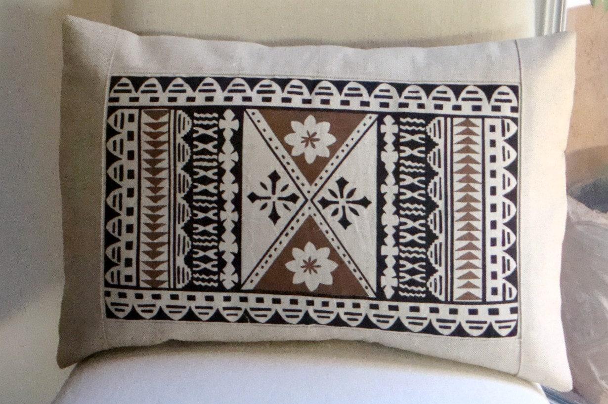 Lumbar Pillow Cover 16x24 inch Fiji Tapa Print Linen by ...