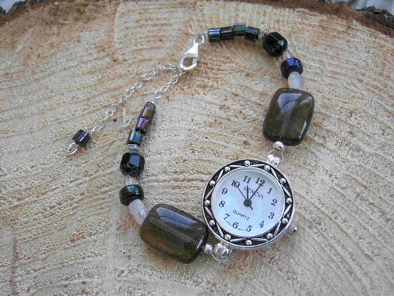 30% OFF SALE  Brown and Black Beaded Watch