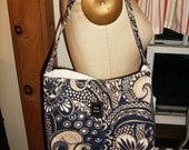 Slouch bag- navy and tan