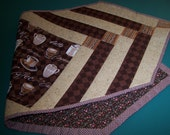 Coffee quilted table runner