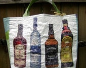 Liquor Bottle Tote made by fusing plastic bags