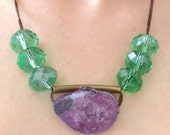 SALE Geode Pendulum Necklace