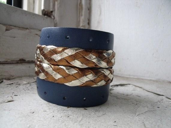 Blue Valentine Metallic Braid Cuff