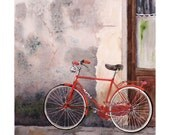 Bicycle Art Watercolor Painting Print Christmas in July Men Women Italy Italian Red Bike Gray  Red Gray Old Wood Door 12 x 12 under 30 - WatercolorByMuren