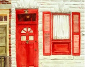 Door Window Art Watercolor Fathers Day Women Men Old Building Red Door Red Shutters Cat White Stone Wall Brown Stone 10.6 x 13.6 Under 30