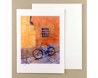Bike Note Cards Bicycle Paper Goods Cycling Ephemera Fine Art Watercolor Painting Bicycle note cards Bike Florence Italy WatercolorByMuren