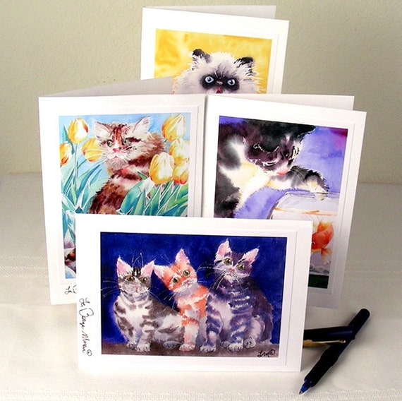 Cat Art Blank Note Cards