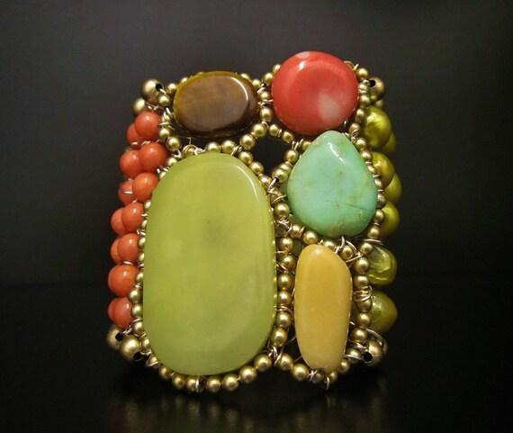 Color Block Cuff Bracelet in Bubblegum Pink Coral & Green Jade Sharona Nissan-Sale