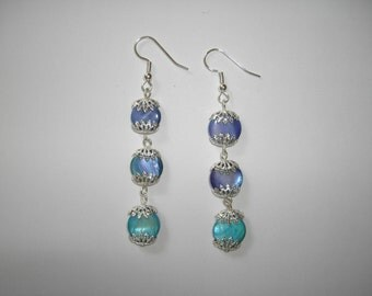 Mother of pearl dangle earrings ocean blue and silver tone