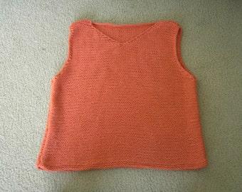 Ladie's summer top in orange, hand knitted, size M