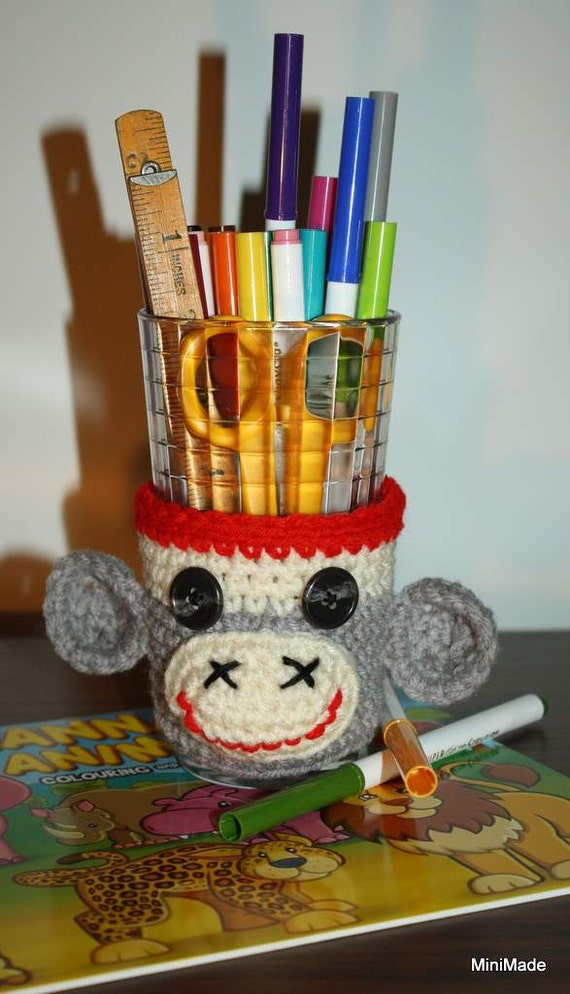 Sock Monkey Cup Sleeve, Cozy or Child's Desk Accessory, Container Cover