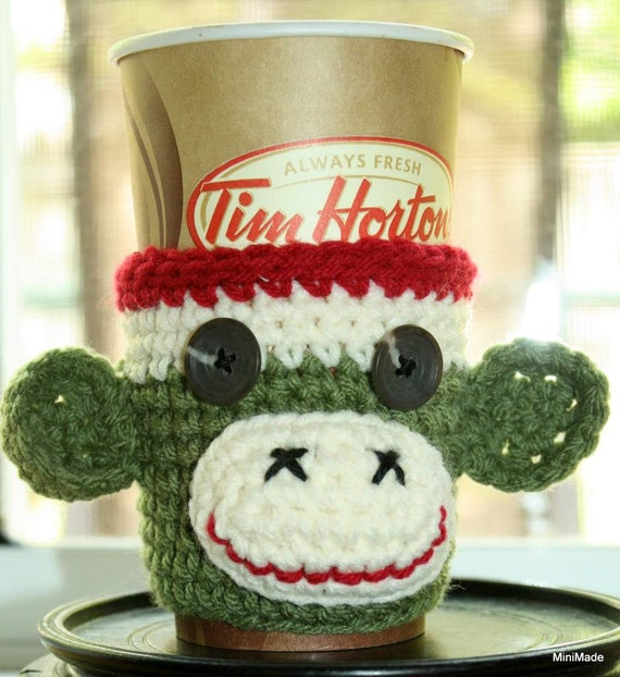 Sock Monkey Cup Sleeve, Cozy, Green with Red Trim