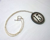 Lucky 13 Necklace - Acrylic Pendant - Monochromatic Grey