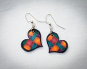 Heart Earrings - Patchwork Quilt