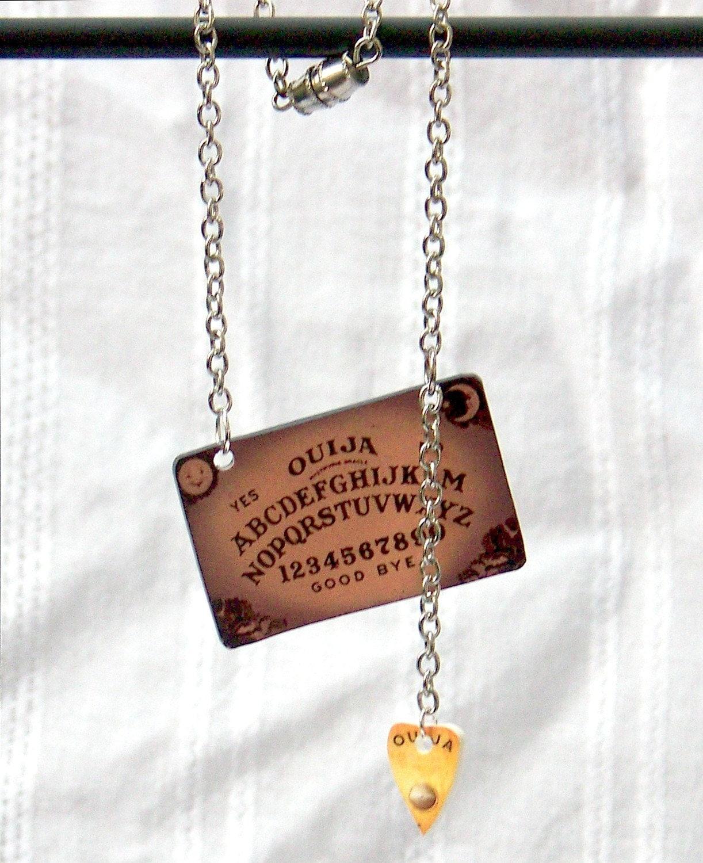 ouija board pendant drop necklace by paxtondesignstudios