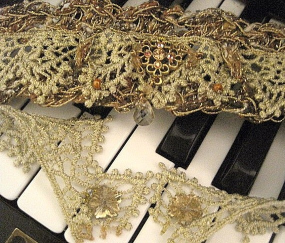 Gold Lace Choker Crocheted with Bronze Yarn and Antique Gold Center Jewel Handmade on Etsy