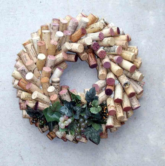Wine Country wine cork wreath  - green grapes
