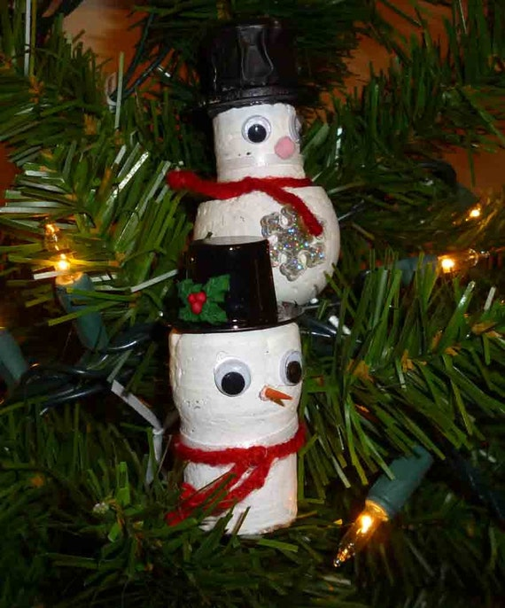 Snowman Cork ornaments bottle tags/gift tags