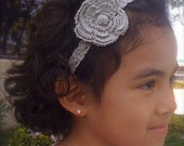 Festive holiday headband and flower in Silver