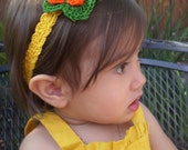 Olivia Headband in Canary Yellow with green and orange flower