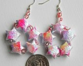 SALE Star in Star Japanese Origami Lucky Star Earrings - Sparkly Pink