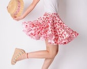 Sexy White Baby Pink Strawberry Cotton Pleated Full Circle Mini Skirt FREE SHIPPING International