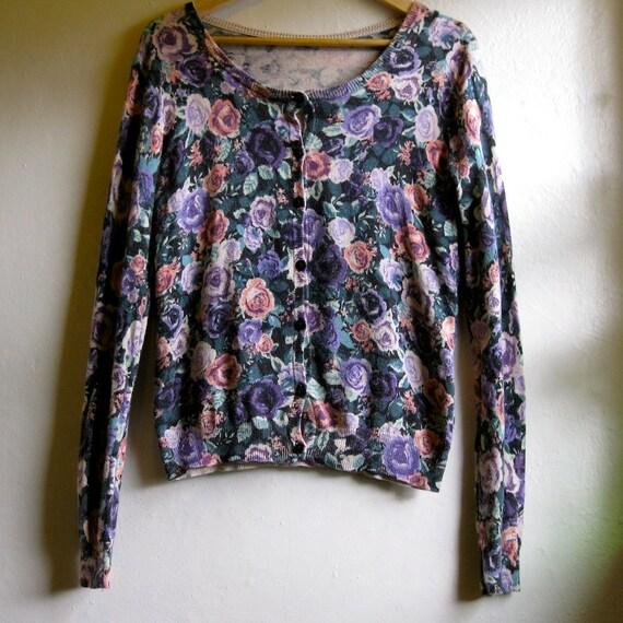 SHOP SALE floral rose cardigan sweater