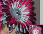 Awesome Burgundy and Silver Hair Flower Rhinestone Center Photo Prop Toddler Girls Hair Clip