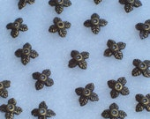 Bead Caps Tibetan Leaf Antique Bronze 8mm x 2.5mm (48)