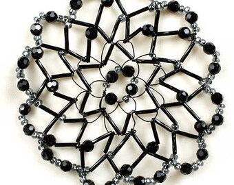Handmade Black Beaded Crystal Kippah for Women