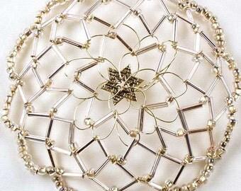 Handmade Champagne Crystal Wire Kippah for Women