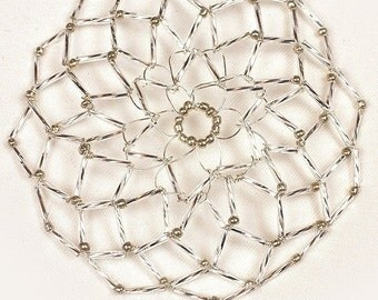 Handmade Shiny Silver Beaded Women's Kippah