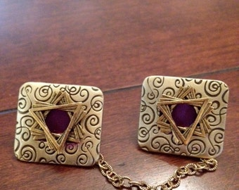 Gold Tallit Clips, Burgundy with Swirl