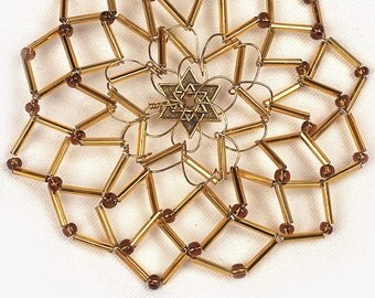 Handmade Butterscotch Brown and Bronze Beaded Women's Kippah