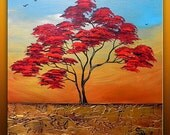 On Sale Abstract Modern Textured Original Landscape Tree Art by Gabriela 20x20x1.5