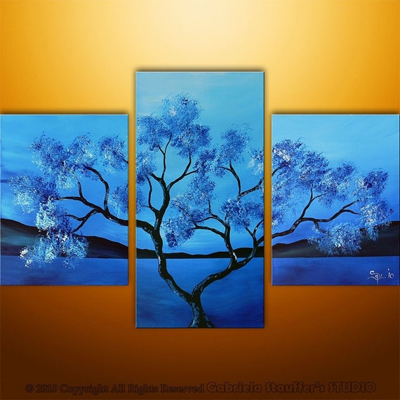 Abstract Modern Landscape Asian Tree Art by Gabriela 36x24