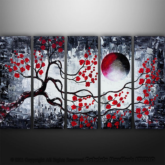 Abstract Modern Asian Zen Blossom Tree Landscape Painting Original Art by Gabriela 50x30 black white red