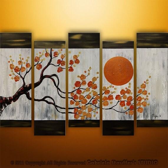 Abstract Modern Asian Zen Blossom Tree Landscape Painting Original Art by Gabriela 50x30