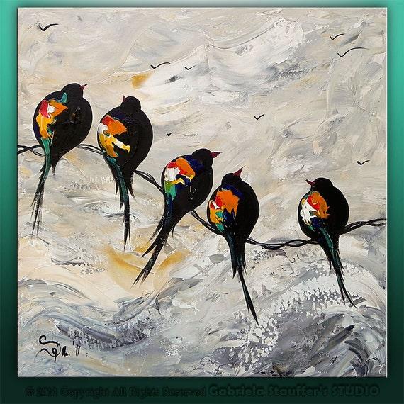 Items similar to Original Palette Knife Modern Birds On A ...