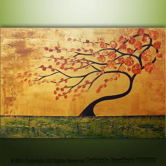 Original Modern Landscape Asian Tree Textured Painting Art by Gabriela 36x24 Metallic
