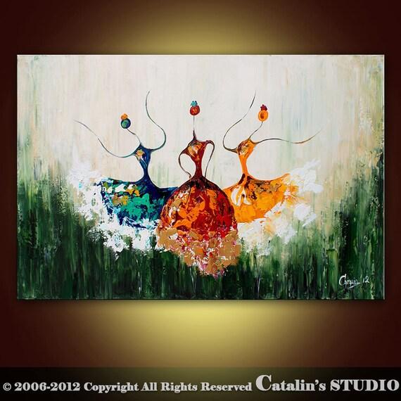 Abstract Ballet, Ballerina Painting Textured Modern Palette Knife Impasto Art by Catalin 36x24