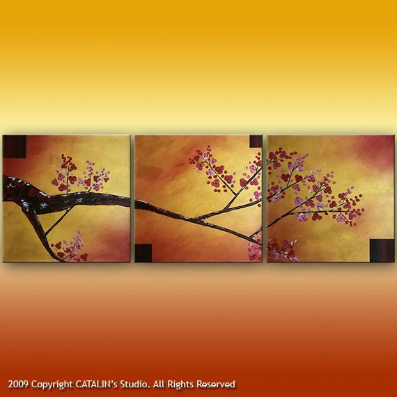 FREE SHIPPING Large Abstract Landscape Tree Asian Zen Original Modern Painting 60x20 Art by Catalin