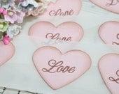 Wedding Stickers - Envelope Seals - Pink Hearts - Love