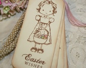 Easter Gift Tags  - Little Girl with Easter Basket - Easter Wishes